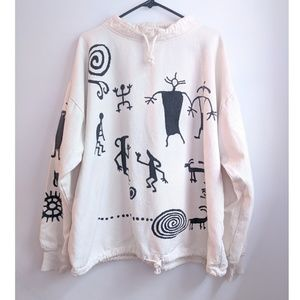 Vintage 90s WEK Rock Art Pullover Twill Sweatshirt